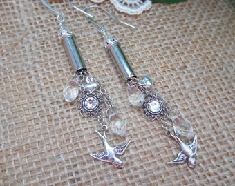 Bullet Jewelry ~ 22 Caliber ~ Chandelier Rhinestone Crystals Hearts Birds Earrings