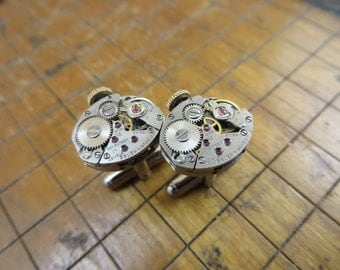 Gruen 248R Watch Movement Cufflinks. Great for Fathers Day, Anniversary, Groomsmen or Just Because.  #380