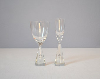 Two Holmegaard Princess Glasses - Sherry and Cordial