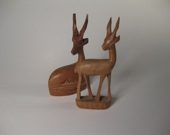 Two Handcarved Wood Antelope African