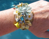 RESERVED GAIL Vintage Flower Garden Ooak Recycled Costume Jewelry Victorian Bracelet Bangle
