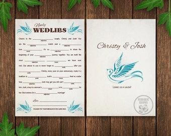 Wedding Mad Lib Card Printable, Wedlibs, Blue Bird Wedding, Guest Book Alternate, Reception Game, Welcome Bag Stuffer, Wedding Favor