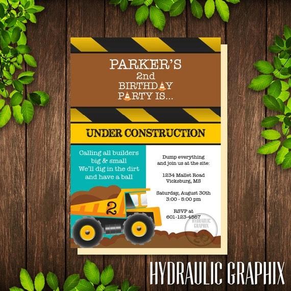 Construction Birthday Party Invitation Printable Construction – Construction Themed Birthday Party Invitations