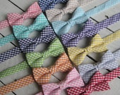 Boys Gingham Bow Tie~Boys Bow Tie~Coral Bow Tie~Mint Bow Tie~Purple Bow Tie~Orange Bow Tie~Red Bow Tie~Nautical Bow Tie~Gray Bow Tie~Cotton