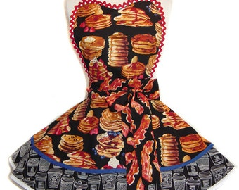 "Ready To Ship ""Pancakes and Bacon"" Pinup/Diner Style Apron -- A  Tie Me Up Aprons 2015 Exclusive Design"