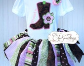 Fabric Tutu, pink lime brown Cowgirl Barn Country, Shabby Chic Fabric Tutu, Baby Tutu, Photo Prop, Childrens Toddler Infant Tutu, Birthday