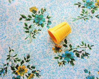 yellow, blue and green floral print vintage cotton fabric -- 46 wide by 2 3/4 yards