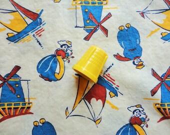 dutch novelty print vintage cotton fabric -- 36 wide by 1/2 yard plus