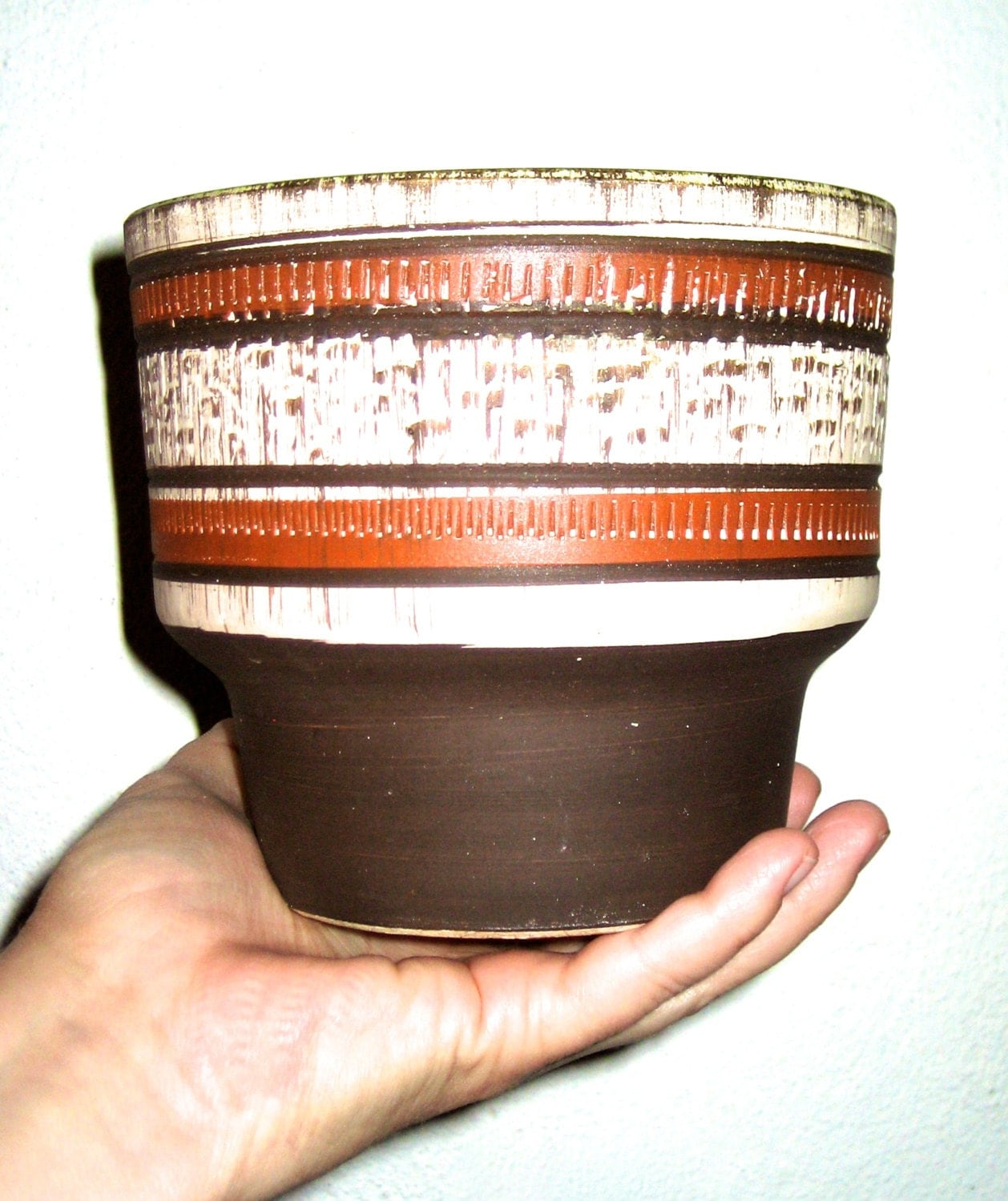 Vintage 60s Modern Ceramic Pot Pottery Display Or Plants