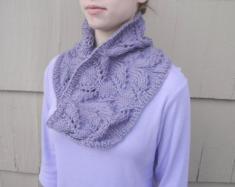 Chunky Cowl Scarf, Knitted Cowl, Lavender Purple, Lace, Acrylic & Wool, Soft Thick Warm Cuddly