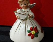 Vintage 60s Josef Originals Christmas Angel Holding Gift Figurine