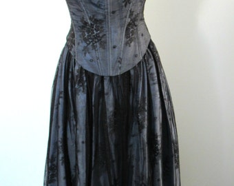 90s Jessica McClintock Prom Dress - Strapless Blue and Black Lace Ballgown