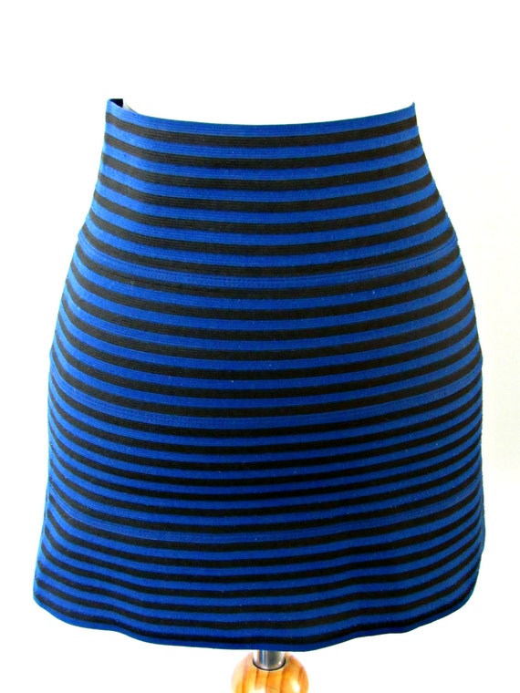 blue and black bandage skirt striped stretchy mini by