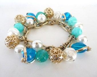 Ocean Blue Beaded Charm Bracelet Faux Pearls Gold Tone Metal Vintage Costume Jewelry from TreasuresOfGrace