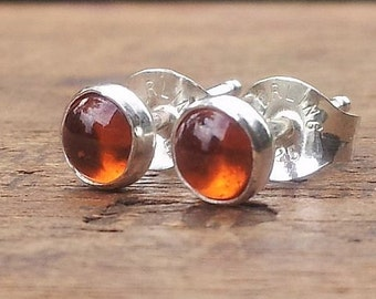 4mm Hessonite Garnet Gemstone Stud Post Earrings Fine Sterling Silver Shiny - Little Bits of Color