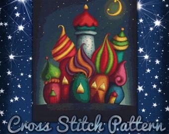 Fairy Tale Castles Cross Stitch Pattern Fantasy design Instant Download PdF Pattern