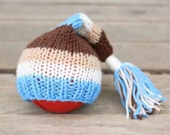 striped beanie, Newborn boy hat, Stocking Caps, newborn photo prop, stocking hat, newborn boy props, boys knitted hat, baby boy photo prop