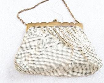 1940's Whiting Davis // Mesh Wedding Bridal Evening Purse // White Gold - Mesh Bag. Liquid Metal