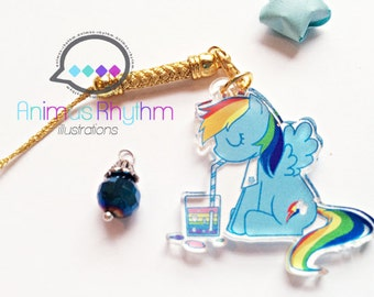 Crystal Clear Acrylic straps charm: MLP Rainbow Dash Anime Pony [SALE]