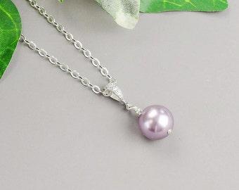 Purple Pearl Necklace - Silver Swarovski Pearl Bridesmaid Necklace - Mauve Lavender Pearl Bridesmaid Jewelry - Pearl Wedding Jewelry