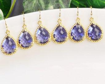 Tanzanite Earrings SET OF 6 - Bridal Jewelry Set - 15% OFF Gold Purple Bridemaid Earrings - Purple Drop Earrings - Wedding - Bridal Jewelry