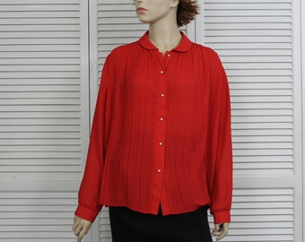 Vintage Red Blouse 1970s/80s Size 12-14