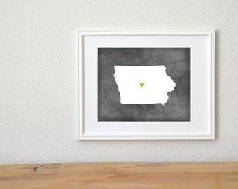 Iowa Chalkboard State Map Customizable Art Print