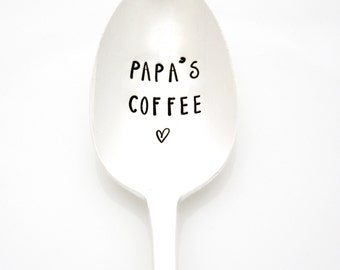 Father's Day Spoon, Papa's Coffee. Vintage hand stamped silverware for unique Fathers Day gift idea.