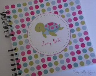 Baby Book |  Baby Memory Album | Turtle Polkadots Wire Bound Baby Memory Book