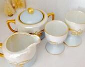 Vintage Creamer Sugar & Egg Cups, Tiffany Blue, Pearlescent  Luster, gold Gilt