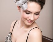 Silver statement headpiece with feathers, wedding millinery fascinator