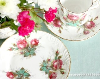 Hammersley Grandmother's Rose tea cup, saucer and plate: exquisite tea set with deep embossed detailing and luscious roses