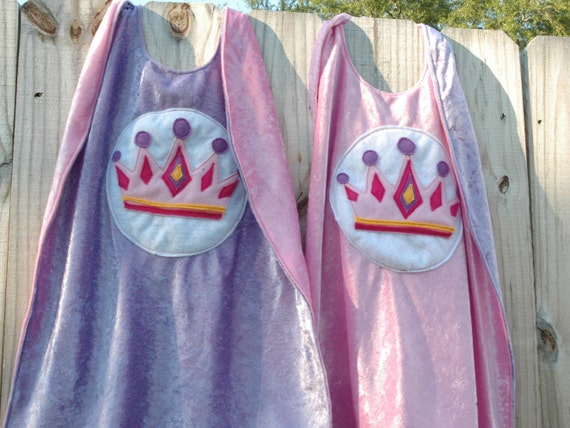 Twin Set of 2 Princess Capes PINK and PURPLE - Birthday Cape - Super Hero Cape - Halloween Costume