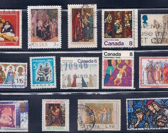 Christmas Nativity Vintage Stamps1970-80s - from Polant, Canada, UK, Italy