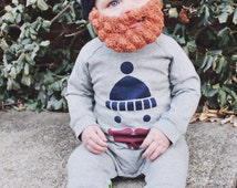 Crocheted Lumberjack Beard Baby Infant Toddler Child Hat in ANY COLOR, Hilarious Baby Shower Gift!