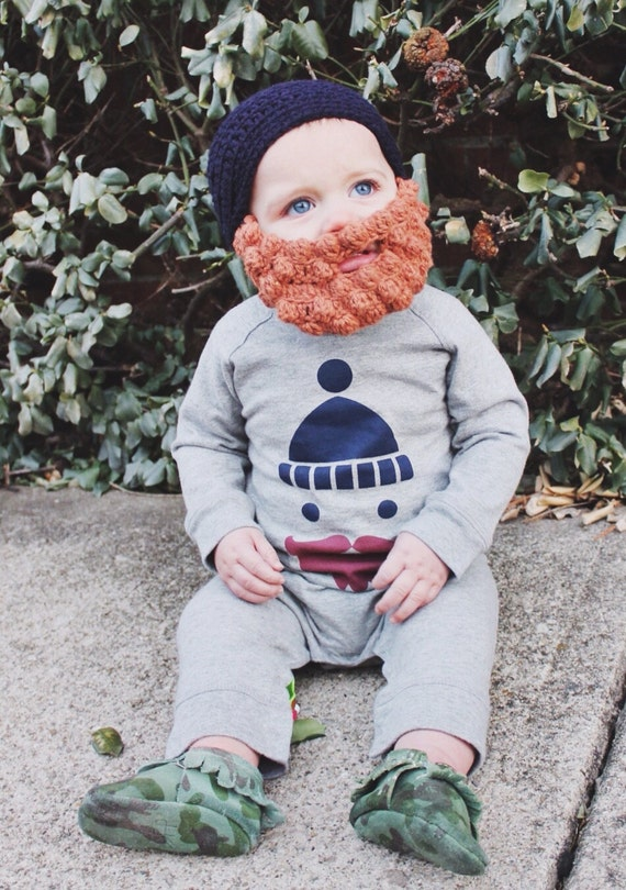Crocheted Lumberjack Beard Baby Infant Toddler Child Hat in ANY COLOR
