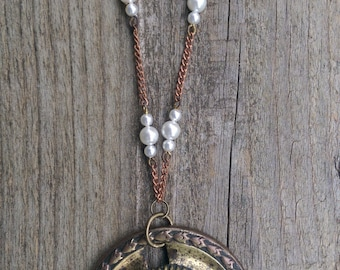 Stamped Metal Plate Necklace, Brass, Rosary Chain, Pearls, Copper, Upcycled, Repurposed, Salvaged