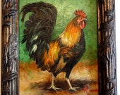 Rooster Original Oil painting in 11x13 frame