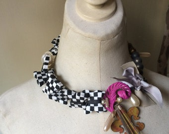 Checkered Butterfly Ribbon Bow Pearl Flower Brooch Statement Necklace in Black, White, Blue & Pink Jewelry by ZILLAS QUEEN
