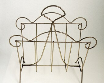 Brassy Metal Vintage Magazine Rack Retro Decor