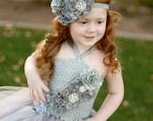 Gray Couture Satin & Shabby Flower Headband - Newborn Baby Grey Hairbow - Little Girls Hair Bow - Toddler Photo Prop - Silver OTT