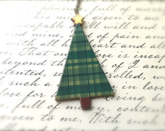 Plaid Christmas Tree Necklace. Festive Christmas Jewelry. Holiday. Brass Vintage Style Chain. Wood Jewelry. Decorated Tree. Under 15 Gifts.