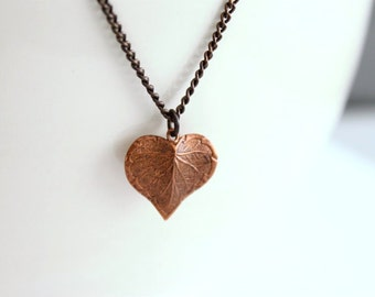 Fall Leaf Necklace - Copper Leaf Pendant on Brass Chain, Autumn Necklace, Leaf Heart Autumn Love, Nouveau Leaf Design, Gift for Her Under 30