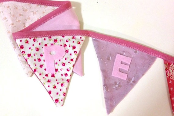Beautiful Personalised Bunting for Childrens Bedroom, Party or Wedding
