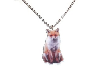 Fox Photo Necklace, Kawaii Woodland Animal Laser Cut Pendant
