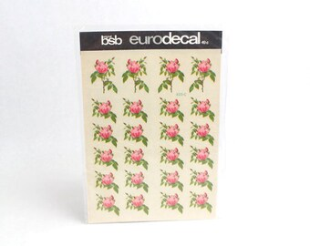 Vintage BSB Eurodecal Small Pink Roses Floral Decals Transfers