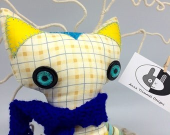 Rag doll cat, Yellow Cat stuffed animal, handmade cotton fabric Cat,  Doll nursery animal decor, cat plush toy, soft toy