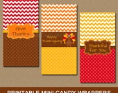 Thanksgiving Candy Bar Wrappers - Printable Thanksgiving Party Favors - Turkey Mini Candy Labels - Chevron Chocolate Bar Labels - INSTANT T1