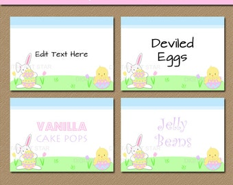 Easter Labels - Printable Easter Decorations - Easter Candy Buffet Labels - EDITABLE Easter Food Tents - Easter Buffet Cards - INSTANT