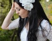 Bridal Hair Flowers, Bridal Hairpiece, White Chiffon